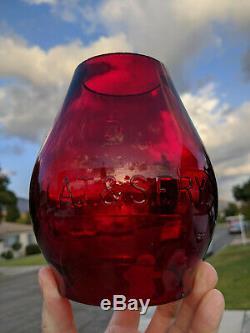 Atchison Topeka & Santa Fe Railway Tall Red Cast Railroad Lantern Globe