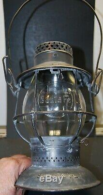 Atsf-santa Fe Tall Bell Bottom Railroad Lantern With Cast Cross Logo Globe