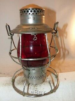 B&O RR brass top railroad lantern withred Vulcan globe
