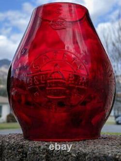Baltimore & Ohio Tall Globe Railroad Lantern Red Cast Capitol Dome Logo Loco Mks