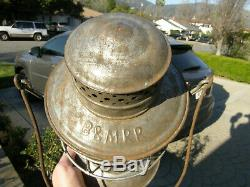 Boston & Maine Star Headlight Railroad Lantern Red Cast Barrel Ext Base Globe