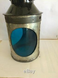 British Railway Original 3 Aspect Oil Lamp Reservoir Brass Burner & Wick Br 1950