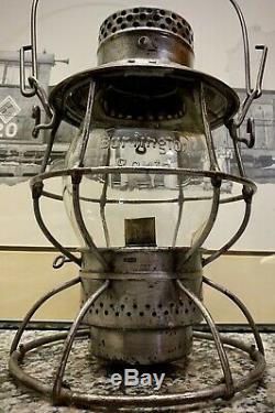 Burlington Route Adlake Reliable Railroad Lantern With Embossed Globe