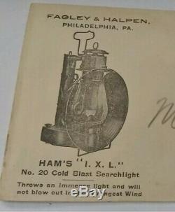 C T Ham No 20 Car Inspector Lantern Lamp Cold Blast Searchlight RailRoad RR