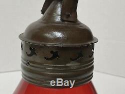 C1851 New England Glass Fixed Globe Cranberry Railroad Type Skaters Lantern