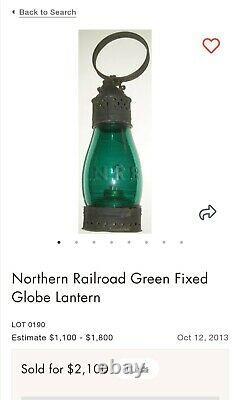 Circa 1850 Northern Railroad Blue Fixed Tin Globe Lantern N R R of New Hampshire