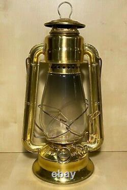 Dietz No. 20 Junior Brass Kerosene Lantern Gold Tone Brass Railroad Style Lamp