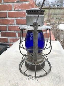 Dietz Vesta Nyo&w Railroad Lantern Early Cobalt Globe Rr Ry Ny O&w Lantern