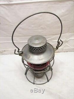 Dressel PRR Railroad Train Lantern Red Glass Globe Lamp Kerosene Light