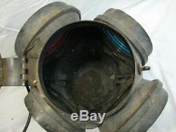 Early Adlake Railroad Switch Lantern RR Lamp Track Marker Light 4-Way