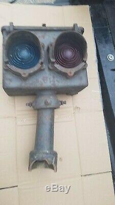 Early General Railway Signal Railroad Dwarf Signal Red & Green Lenses