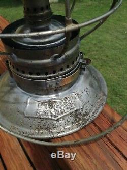 FRISCO SYSTEM M. M. BUCK Double Marked logo bell bottom railroad brakeman lantern