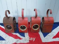 Four Industrial Antique Vintage Red Road Railway Warning Paraffin Lamp Lantern