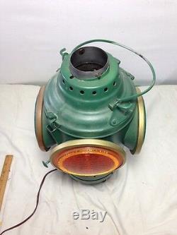 Gorgeous Vintage Green Non Sweating Railroad / Marine Switch Lantern