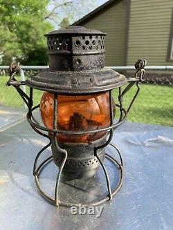 Gulf Colorado & Santa Fe Railroad Lantern Withmarked Amber Globe