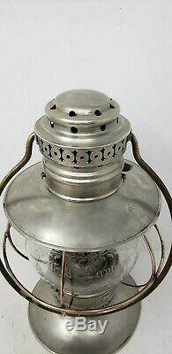Kelly Bell Bottom Railroad Presentation Lantern Fixed Globe Wheel Cut SILVER
