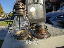 L. F. Relyea German Silver Presentation Railroad Lantern Fancy Cut Fixed Globe