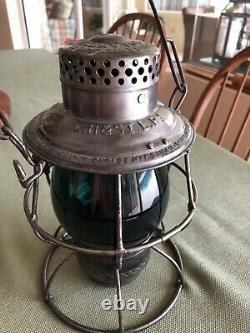 L H & STL RY Railroad Lantern With A Tall Unmarked Extended Base Green Globe