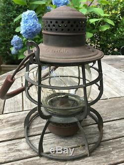 Long Island Railroad LIRR Tall Armspear Lantern with Pennsy Etched Globe