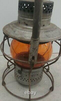 Long Island Railroad Lantern Amber Etched Globe Handlan LIRR Pat'd 1928