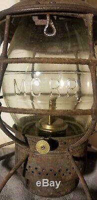 MCRR Antique Railroad Lantern Embossed Glass Pat Date Jan. 1909 Fat Base