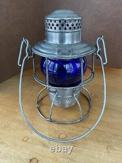 Milwaukee Road Railroad Lantern Blue Globe Adams & Westlake Co
