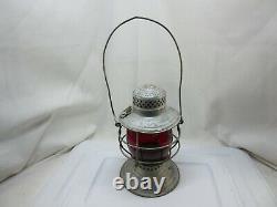 Missouri, Kansas & Texas Railroad Lantern Red MK&TRY Etched Globe The Handlan