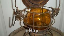 N&w Norfolk Western Railway Railroad Lantern Etched Amber Globe Adams Westlake