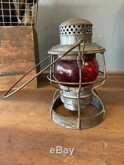 NICKEL PLATE ROAD NKP Adlake Railroad Lantern With Red Globe Train Station Old
