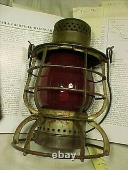 Nevada. T & G Rr Lantern. Tonopah & Goldfield Railroad. Tall Frame Red Globe
