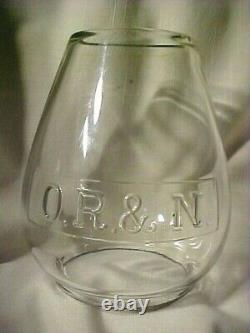 O. R. & N. Oregon Railroad And Navigation Company. Tall Railroad Lantern Globe
