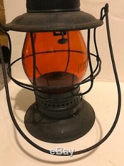 Old PRR railroad Lantern Amber Orange Globe