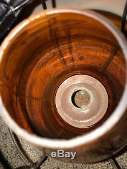 Old PRR railroad Lantern Amber Orange Globe Copper Top Early RR Globe
