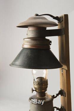Original Antique Adams & Westlake Railroad Caboose Oil Lamp With Bracket