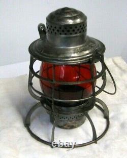 P&R Ry Locomotive Dept Railroad Lantern Armspear Red Globe Philadelphia Reading