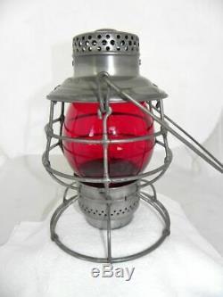 PORTLAND RY LIGHT & POWER CO. RAILROAD LANTERN Red Lantern Globe