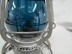 PRR Casey Tall Railroad Lantern With Corning EB Cast PRR Signal Green Globe