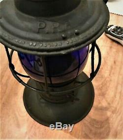 PRR Pennsylvania Railroad Lantern Bellbottom with Blue Tall Globe