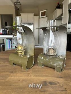 Pair Rare Vintage SPCo Railroad Caboose Wall Lanterns Plume & Atwood and Adlake