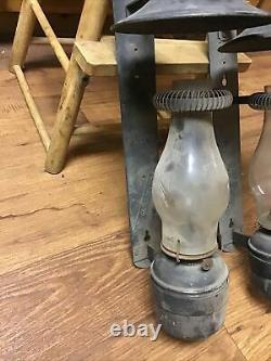 Pair of Handlan St Louis C&O RY Railroad Caboose Wall Mount Wick Oil Lantern