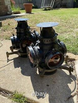 Pair of VINTAGE Railroad Train switch signal Lanterns wired to use as lamps