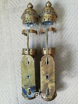 Pair vintage GWR railway carriage brass candle wall lamps sconces complete