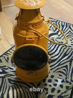 Pennsylvania RR Adlake Non Sweating Railroad Lantern Lamp mustard paint, 14 1/2H