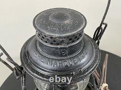 Pere Marquette Railroad Globe Lantern Converted Into Light Light Bulb Flickers