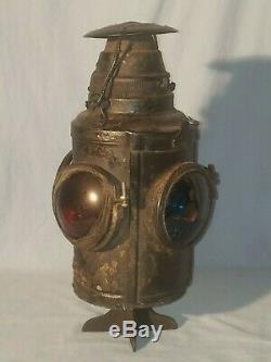 RARE Vintage DRESSEL 4 Lens Railroad Kerosene Lantern Lamp, with Extra Lens
