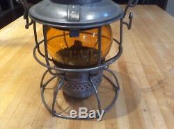 Railroad Lantern C& O Adlake Amber Etched C & O Globe