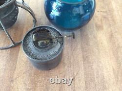 Railroad Lantern Louisiana And Arkansas L&A Blue Globe