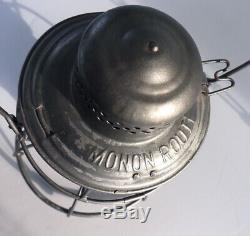 Railroad Lantern MONON ROUTE Handlan TOB Red Etched Globe Superb Condition