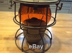 Railroad Lantern Pennsylvania RR- PRR Amber Adlake Kero Globe