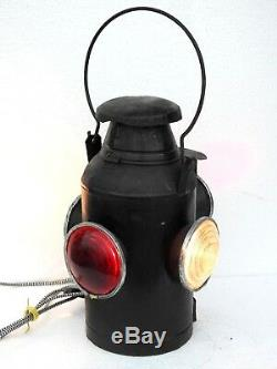 Railroad Lantern Vintage Light Electric Antique Lamp Switch 4 Way Signal Indian